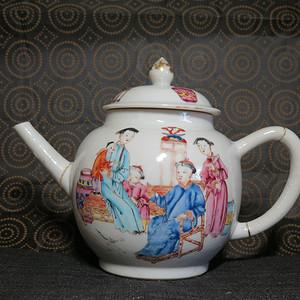 清代雍正合家欢人物大茶壶