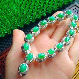 冰润满绿蛋型托铜项链