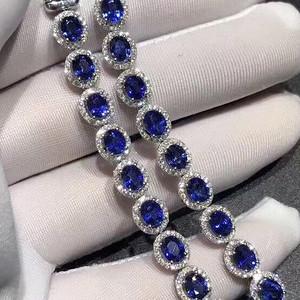 天然蓝宝石手链送国检证书