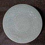 清代29cm嘉庆缠枝花卉纹豆青釉大盘
