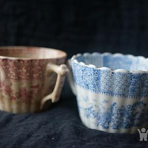 欧洲老青花粉彩咖啡杯