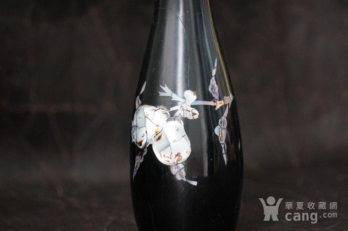 金牌 螺钿镶嵌黑漆花瓶图3