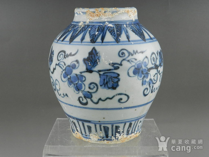 弘治青花葡萄纹小罐 联盟