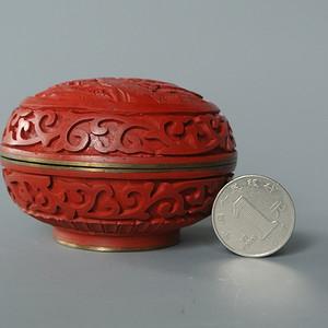 出口创汇期北京雕漆厂印泥盒