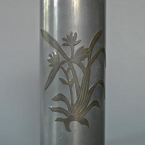 民国锡制嵌铜兰花纹帽筒