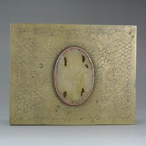 民国簪刻珍珠地福寿纹铜烟盒
