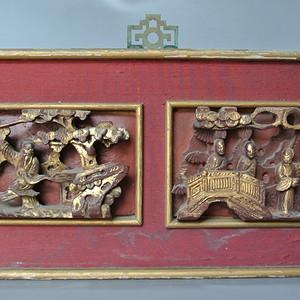 清金漆木雕故事人物纹挂屏