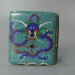 清晚期铜胎掐丝龙纹烟盒