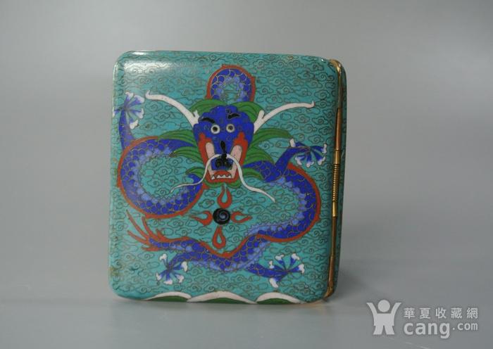 清晚期铜胎掐丝龙纹烟盒图1