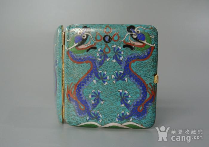清晚期铜胎掐丝龙纹烟盒图2