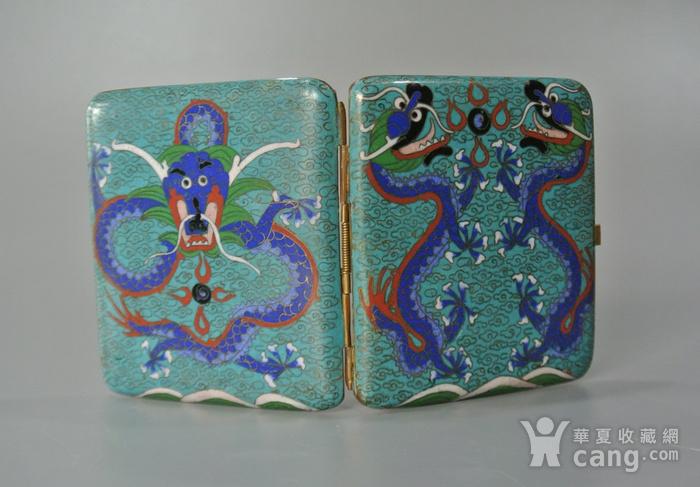 清晚期铜胎掐丝龙纹烟盒图3