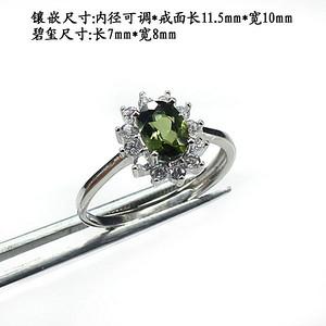 绿碧玺戒指 银镶嵌0001