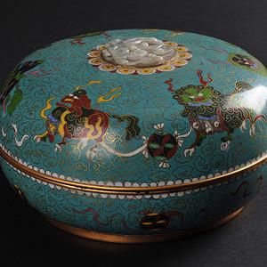 欧美回流 老铜胎掐丝珐琅狮子绣球捧盒