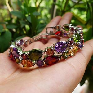 天然宝石多色水晶银手链 银镀金镶嵌