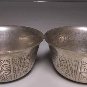 藏传铜鎏银供杯一对