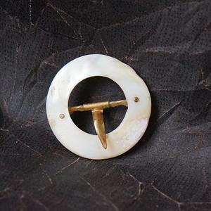 欧洲天然贝母古董带扣