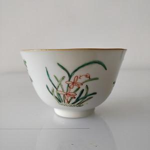 道光粉彩花卉茶碗