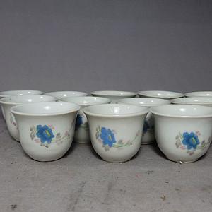 文革时期蓝 花卉杯12个