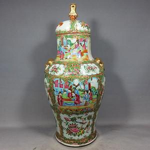 清代 号广彩人物绘画将军罐
