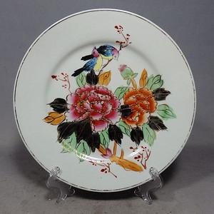 民国粉彩花鸟绘画折腰盘