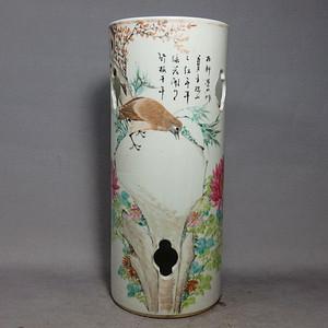 清代浅降花鸟绘画镂空帽筒