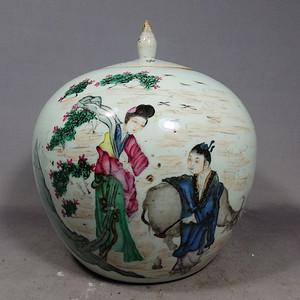 民国浅降牛郎织女绘画西瓜罐