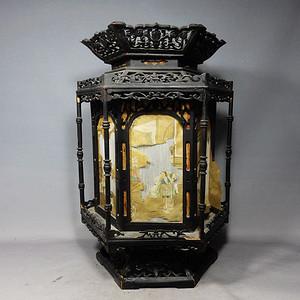 清代木质雕刻人物绘画宫灯