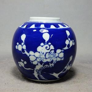 晚清冰梅纹绘画罐
