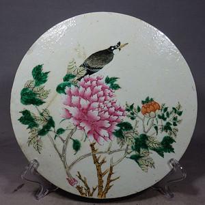 清代细路粉彩白头富贵圆形瓷板