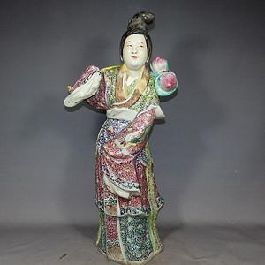 清代大号粉彩 塑像