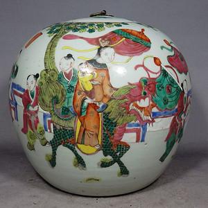 清代粉彩状元及第西瓜罐
