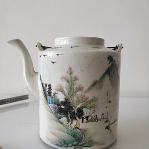 大号民国浅降彩茶壶