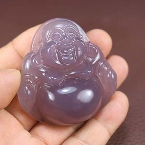 纯天然巴西玛瑙紫玉髓弥勒佛帝王紫玉髓大肚佛吊坠