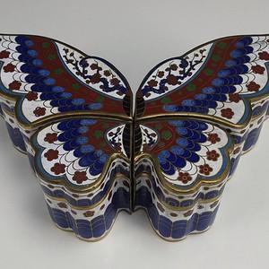 回流铜胎掐丝珐琅蝴蝶鸳鸯盖盒 一套