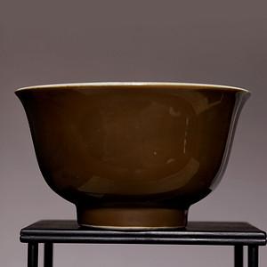 专家已认证 全品晚清单色釉鳝黄小碗 HX81