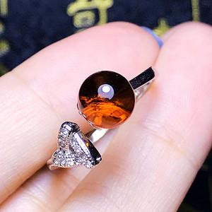 完美净水血珀!纯天然原矿无优化琥珀圆珠纯银镀18K白金戒指