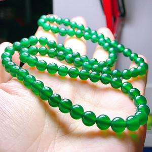 漂亮满绿冰种绿玉髓圆珠三圈手链!