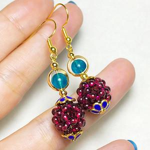 纯天然石榴石紫呀乌冰体圆珠纯手工制作18K包金水晶耳环一对