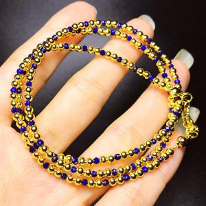 私人订制!阿富汗进口天然青金石宝石刻面18K包金圆珠项链手链