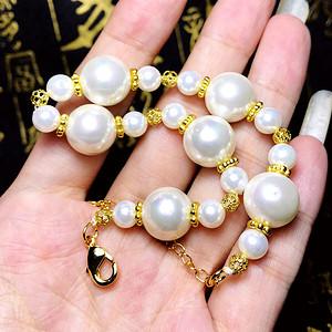 漂亮强光正圆12MM澳白色光泽天然海洋贝珠漂亮贝宝珠手链