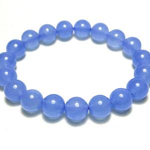 冰冰海蓝!漂亮天蓝色冰种蓝玉髓10MM圆珠手链!