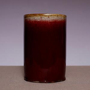 藏海淘 清单色釉红釉圆笔筒一个 SN17