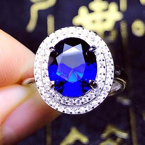 完美无瑕皇家蓝宝石!2.3克拉美国进口合成蓝刚玉豪镶满钻戒指