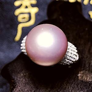 超大珍珠戒指!天然淡水珍珠12MM香槟粉紫色正圆珠纯银戒指