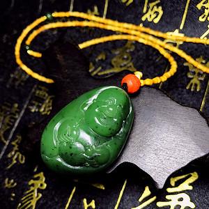 完美无裂碧玉佛公!天然和田玉碧玉智珠在握招财佛弥勒佛挂件项链