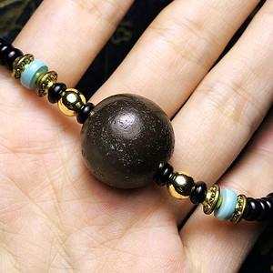 包浆漂亮!清代灰p老玛瑙配原矿高瓷绿松石黑椰蒂项链手链