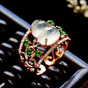 完美正阳绿!18K金镶42钻石天然A货翡翠冰种福禄葫芦高档钻戒