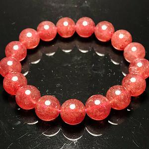 精品血红草莓晶!俄罗斯进口纯天然冰体满红水晶圆珠手串!