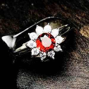 完美无瑕全净玻璃体50分石榴石戒指!莫桑比克石榴石纯银钻戒