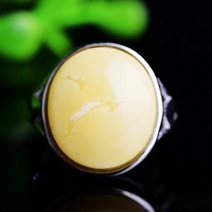 俄料精品满蜜白蜡!波罗的海纯天然原矿无优化蜜蜡白蜜大戒指